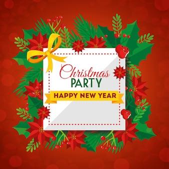 Party weihnachtskarte mit dekoration blumen
