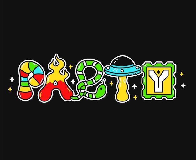 Party-wort, trippy psychedelische buchstaben. vektor handgezeichnete doodle-cartoon-charakter-illustration. lustige coole trippy buchstaben, party, saurer modedruck für t-shirt, posterkonzept