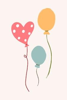 Partyballonaufkleber, pastellvektor, feierdekor