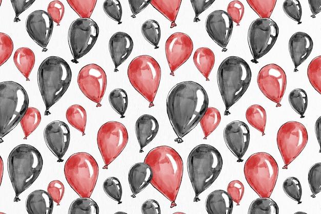 Partyballonhintergrundvektor in rot und schwarz