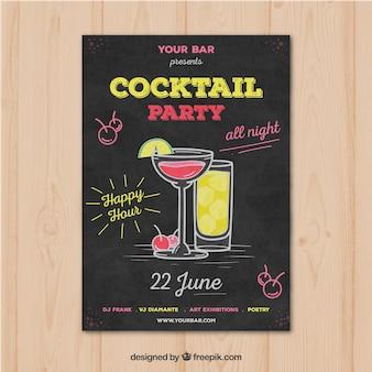 Partybroschüre mit handgezeichneten cocktails