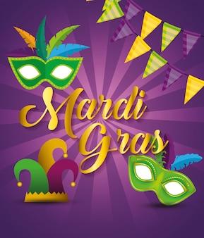 Partydekoration mit masken und hut zum karneval