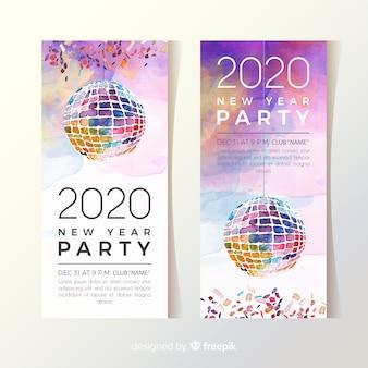 Partyfahnen des neuen jahres 2020 des aquarells mit discokugel