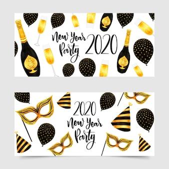 Partyfahnen des neuen jahres 2020 des aquarells