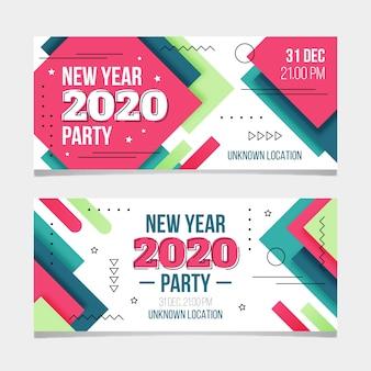 Partyfahnen des neuen jahres 2020 im flachen design