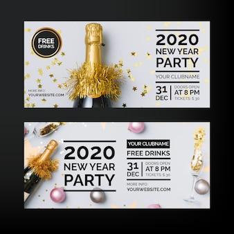 Partyfahnen des neuen jahres 2020 mit foto