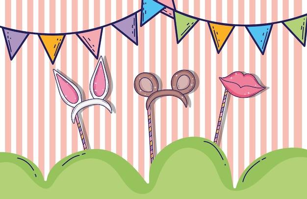 Partyfahnen mit stirnbandtieren ohren und mund