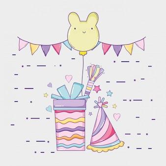 Partyflaggen mit geschenk und bär ballon zum geburtstag
