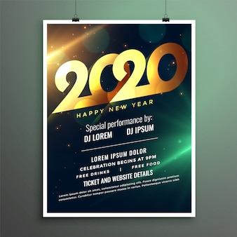 Partyflieger oder plakatschablone des neuen jahres 2020
