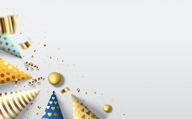 Partyhintergrund mit einer bunten geburtstagshutabbildung