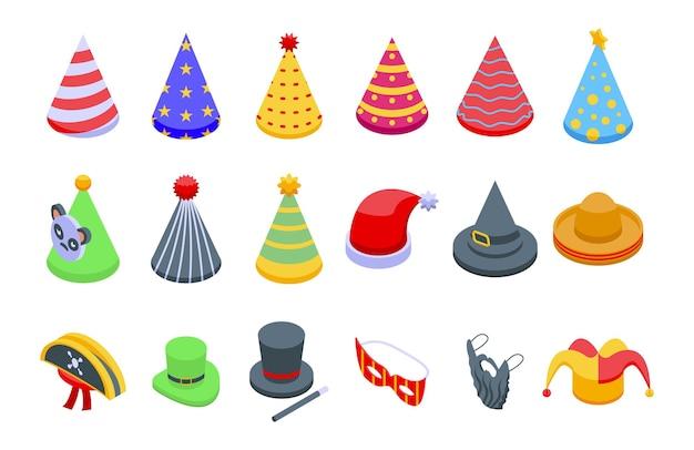 Partyhüte icons set isometrischen vektor. geburtstagsmütze