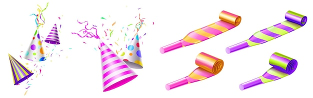 Partyhüte und hornbläser mit farbstreifen und punkten