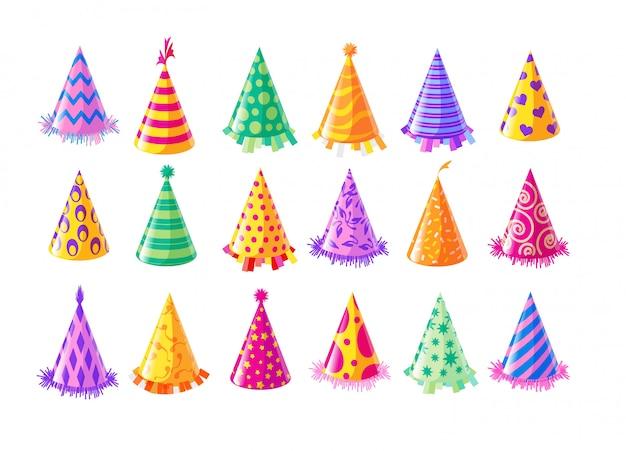 Partyhut gesetzt. isolierte geburtstagsfeierhut- oder -kappen-sammlung. jubiläumsfeier spaß. feiertagsdekorationsvektorillustration