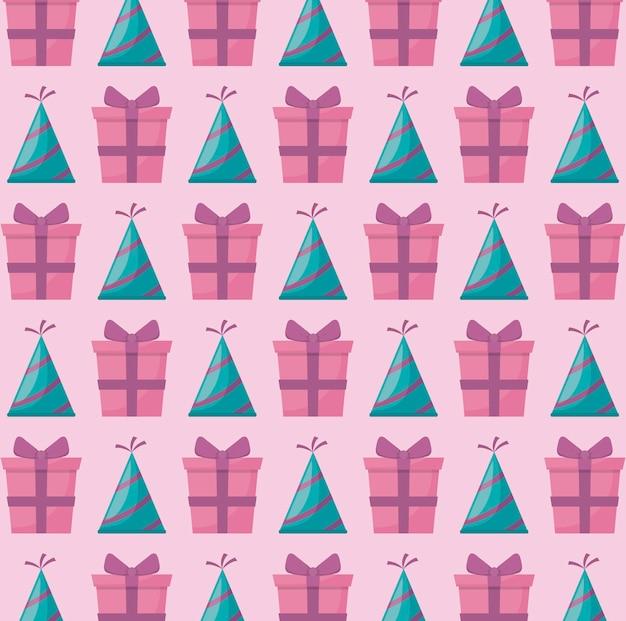 Partyhut mit geschenkbox-geschenkmuster