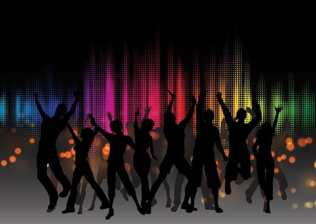 Partymasse auf grafischem entzerrerdesign