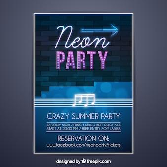 Partyplakat mit neonlichtart