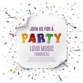 Partyplakatschablone mit realistischem gebogenem banner auf feierhintergrund mit bunten konfetti und bändern.
