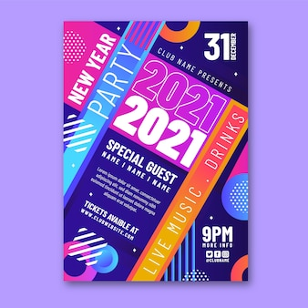 Partyplakatvorlage des neuen jahres 2021 im flachen design