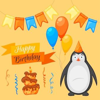 Partyset mit pinguin und bunten gegenständen auf weißem hintergrund. aufschrift