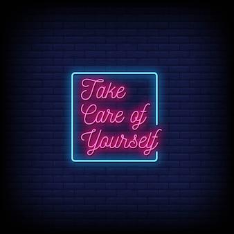 Pass auf dich auf neon signs style text