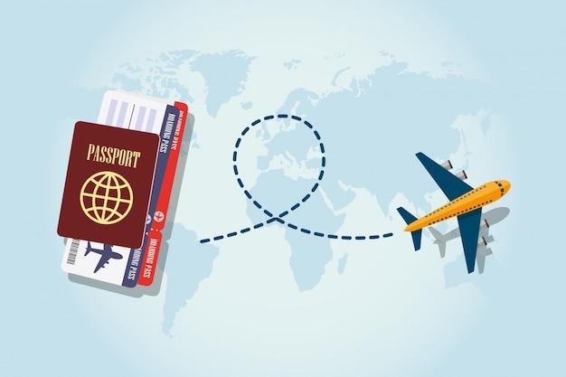 Pass, bordkarte, flugzeug fliegen und verfolgen linie