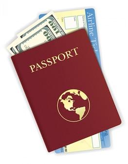 Pass mit geld- und flugticketvektorillustration