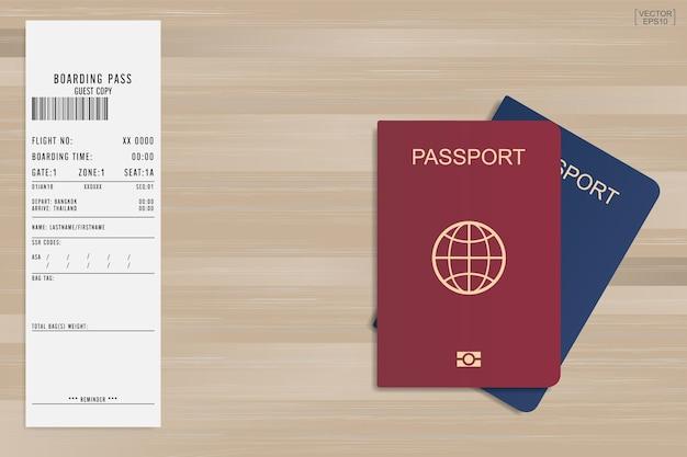 Pass und bordkarte.