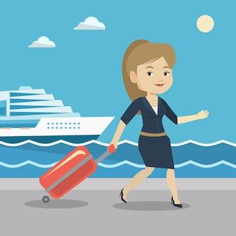 Passagier mit koffer an bord gehen.