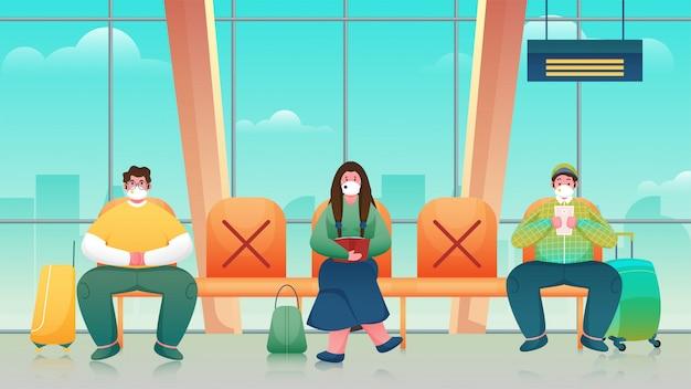 Passagier mit medizinischer maske, der auf dem sitz sitzt und soziale distanz in der warte- oder abflughalle beibehält.