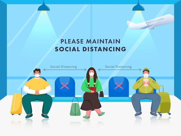 Passagier tragen medizinische maske mit aufrechterhaltung der sozialen distanz am wartesitz im flughafen.