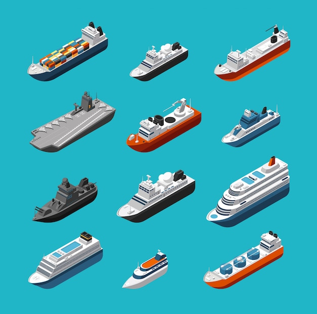 Passagier- und frachtschiffe, segelboote, yachten und isometrische transportikonen der schiffe