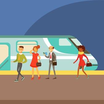Passagiere, die an der plattform in einen zug einsteigen