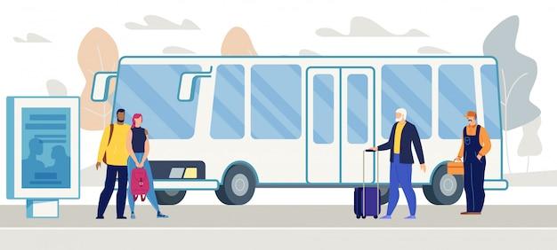 Passagiere, die bus auf stadt-bushaltestelle-vektor warten