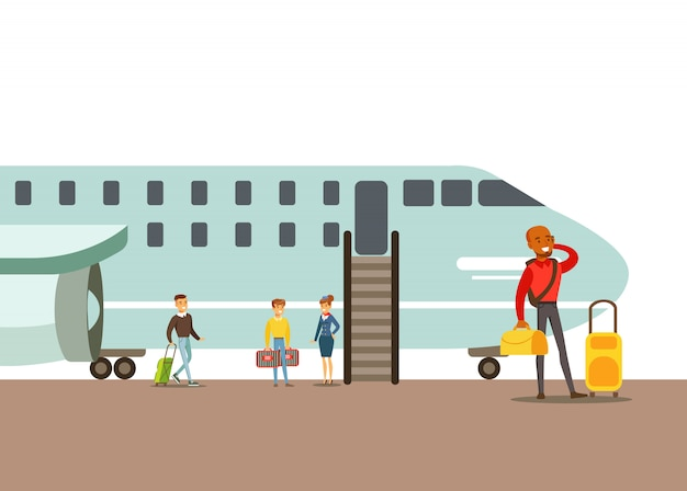 Passagiere, die in ein flugzeug einsteigen