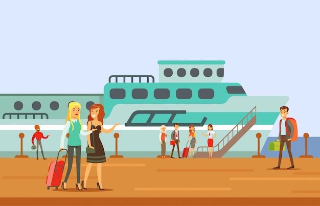 Passagiere, die in ein kreuzfahrtschiff einsteigen