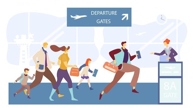 Passagiere, die zum flugsteigtor laufen, leute im flughafenterminal, illustration