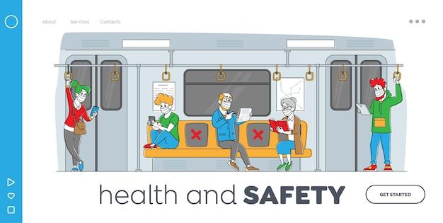 Passagiere in der metro landing page template