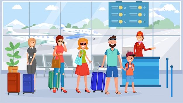 Passagiere in der warteschlange des flughafenterminals