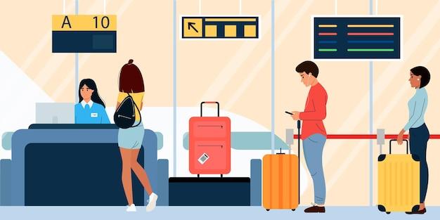 Passagiere mit gepäck werden am flughafen eingecheckt vector illustration design im flachen stil