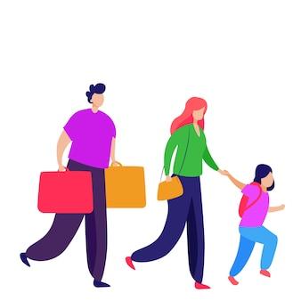 Passagiere mit kind tragen koffer