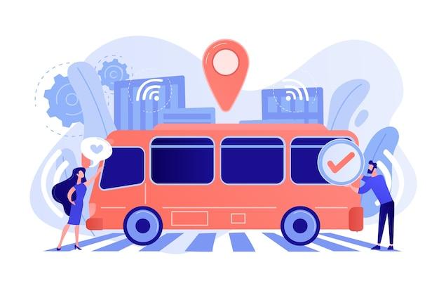 Passagiere mögen und genehmigen autonomen roboter-bus ohne fahrer