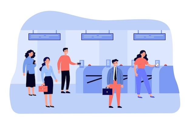 Passagiere stehen mit zugfahrkarten in der nähe des automatischen flugsteigs in der u-bahn in der warteschlange