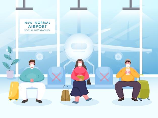 Passagiere tragen eine schutzmaske halten sie soziale distanz auf dem sitz des flughafens ein, um coronavirus zu verhindern.