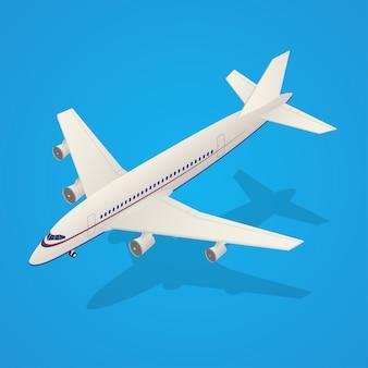 Passagierflugzeug, das im himmel isometrischen transport auf hintergrund fliegt. illustration