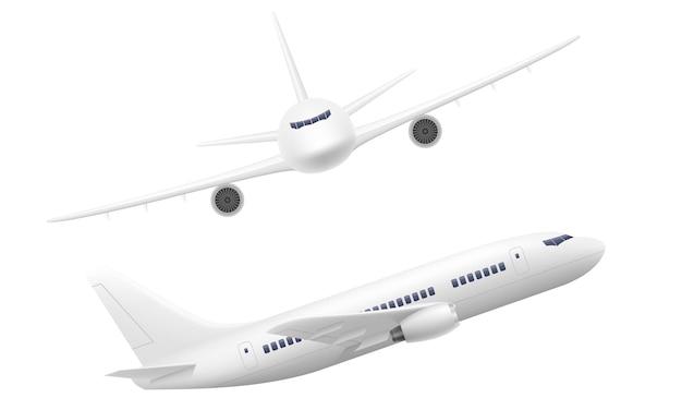 Passagierflugzeugillustration lokalisiert auf weiß