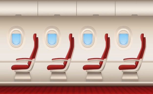 Passagierflugzeuginnenraum, flugzeugkabine mit weißem nahaufnahmefensteröffnungsflugzeug innerhalb der komfortstühle