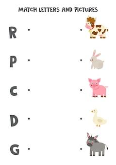 Passen sie anfangsbuchstaben und nutztiere an. lernspiel für kinder. arbeitsblatt für kinder.