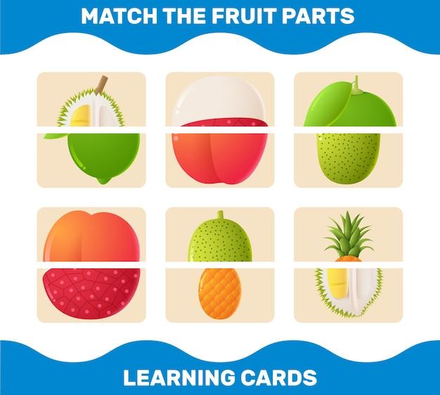 Passen sie cartoonfruchtteile zusammen. matching-spiel.