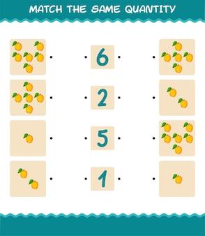 Passen sie die gleiche menge aprikose an. spiel zählen. lernspiel für kinder und kleinkinder vor der schule