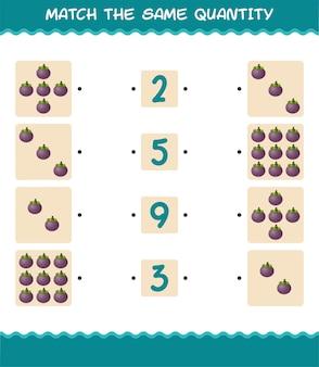 Passen sie die gleiche menge mangostan an. spiel zählen. lernspiel für kinder und kleinkinder vor der schule